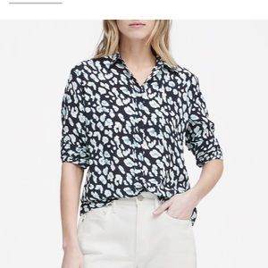 Banana Republic Tops - Banana Republic leopard print navy blue blouse